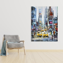 Canvas 36 x 48 - Urban scene with yellow taxis