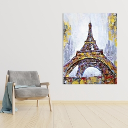 Canvas 36 x 48 - Abstract paint splash eiffel tower