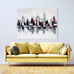 Canvas 36 x 48 - Gray and red cityscape