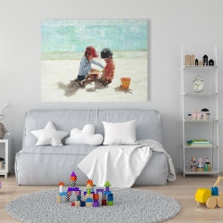 Canvas 36 x 48 - Little girls at the beach