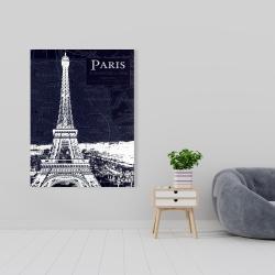 Canvas 36 x 48 - Paris blue print and eiffel tower
