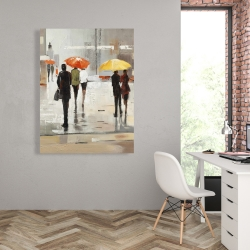 Canvas 36 x 48 - Abstract passersby with umbrellas