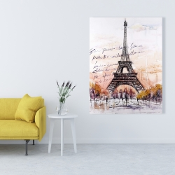 Canvas 36 x 48 - Eiffel tower sketch with an handwritten message