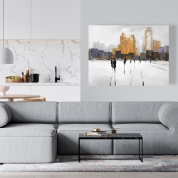 Canvas 36 x 48 - Silhouettes walking towards the city