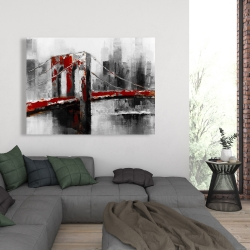Canvas 36 x 48 - Abstract and red brooklyn bridge