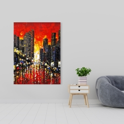 Canvas 36 x 48 - Abstract sunset on the city