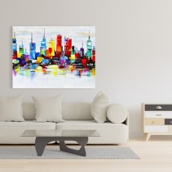 Canvas 36 x 48 - Abstract and colorful city
