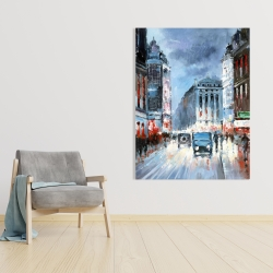 Canvas 36 x 48 - Abstract red and blue city