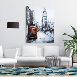 Canvas 36 x 48 - Abstract london and red bus