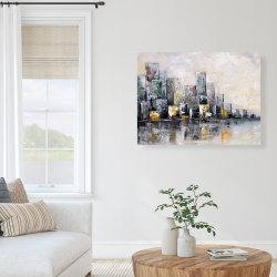 Canvas 36 x 48 - Abstract cityscape in the morning