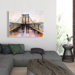 Canvas 36 x 48 - Colorful brooklyn bridge