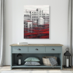 Canvas 36 x 48 - Gray city with red clouds