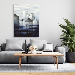Canvas 36 x 48 - Gray city with blue clouds