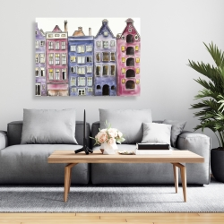 Canvas 36 x 48 - Old historic houses amsterdam