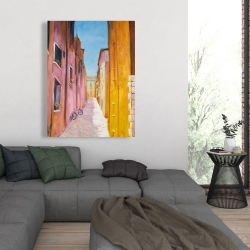 Canvas 36 x 48 - Colorful houses in the streets of collioure