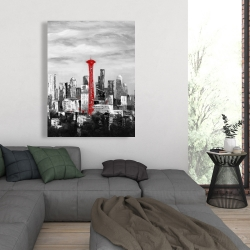 Canvas 36 x 48 - Space needle in red