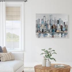 Canvas 36 x 48 - Abstract urban skyline