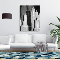 Canvas 36 x 48 - Abstract black and white cityscape