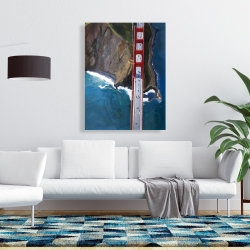 Canvas 36 x 48 - Overhead view of the golden gate and mountains