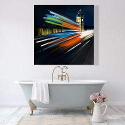 Canvas 48 x 48 - London bus with long exposure