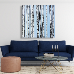Canvas 48 x 48 - Birches on a blue background
