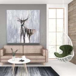 Canvas 48 x 48 - Winter abstract deer