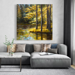 Canvas 48 x 48 - Fall landscape by the water