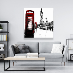 Canvas 48 x 48 - Telephone box and big ben of london
