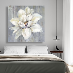 Canvas 48 x 48 - White flower on wood