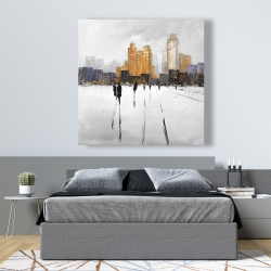 Canvas 48 x 48 - Silhouettes walking towards the city