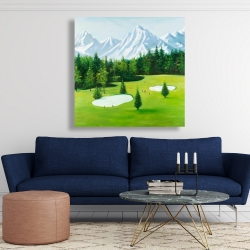 Canvas 48 x 48 - Golf course with mountains view