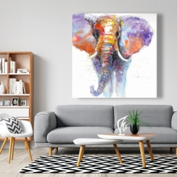 Canvas 48 x 48 - Colorful walking elephant