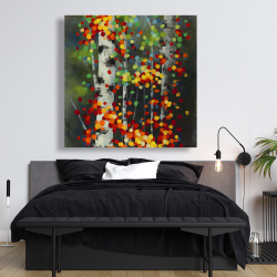 Canvas 48 x 48 - Colorful dotted leaves birches