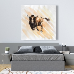 Canvas 48 x 48 - Bull running watercolor