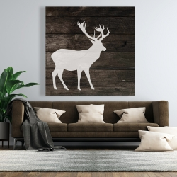 Canvas 48 x 48 - Deer on wood background