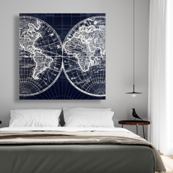 Canvas 48 x 48 - World map blue print