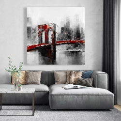 Canvas 48 x 48 - Abstract and red brooklyn bridge