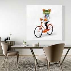Canvas 48 x 48 - Funny frog riding a bike