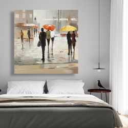 Canvas 48 x 48 - Abstract passersby with umbrellas
