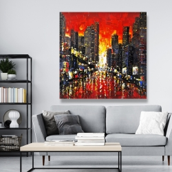 Canvas 48 x 48 - Abstract sunset on the city