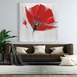 Canvas 48 x 48 - Two red flowers on gray background