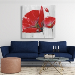 Canvas 48 x 48 - Three red flowers on gray background