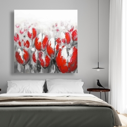 Canvas 48 x 48 - Abstract red tulips