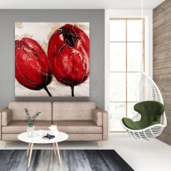 Canvas 48 x 48 - Two red tulips