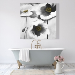 Canvas 48 x 48 - Black and white flowers