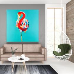 Canvas 48 x 48 - Colorful flamingo