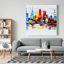 Canvas 48 x 48 - Abstract and colorful city