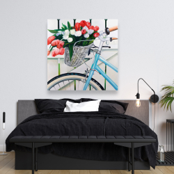 Canvas 48 x 48 - Bicycle with tulips flowers in basket