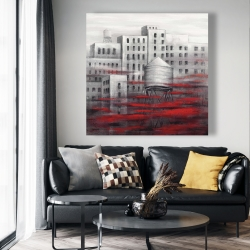 Canvas 48 x 48 - Gray city with red clouds
