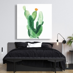 Canvas 48 x 48 - Watercolor paddle cactus with flower